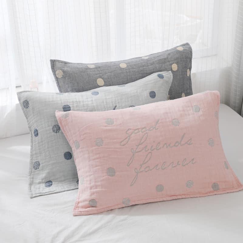 呵護肌膚全棉四層紗布枕頭巾(1對組)