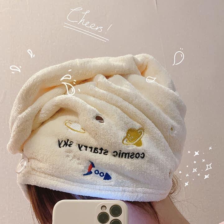 刺繡小宇宙珊瑚絨吸水乾髮帽