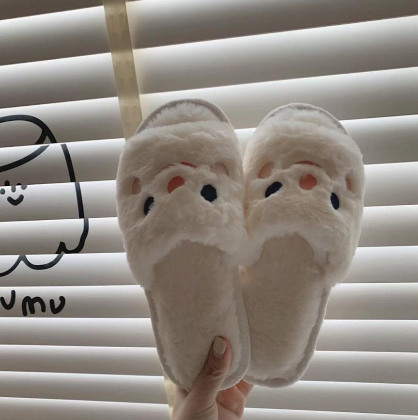 ins白呼呼冬季毛絨絨棉拖鞋