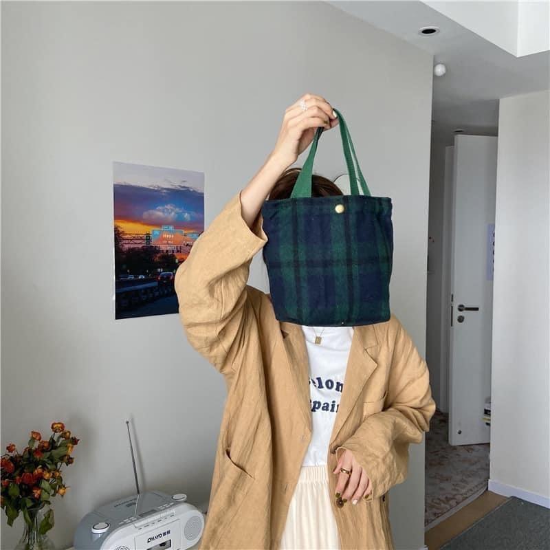 蘇格蘭系毛呢格紋加厚手提布包