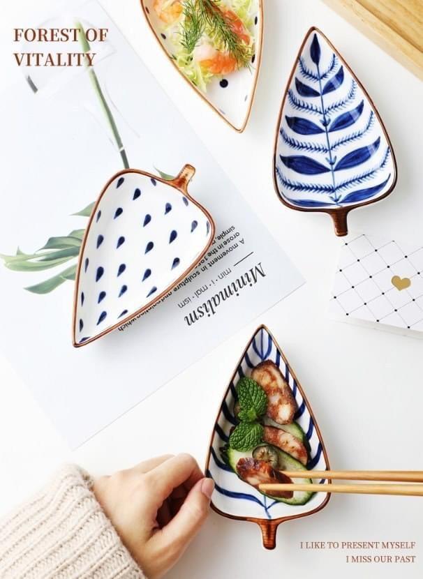 樹葉造型陶瓷小菜皿4入組