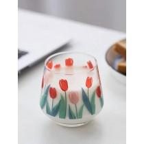 鬱金香花兒牛奶玻璃杯
