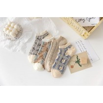 高顏值宮廷3D立體莫蘭迪色船型襪(4雙一組)