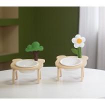 原創小樹小花陶瓷寵物碗架