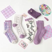浪漫優雅紫系襪子(5雙一組)