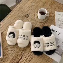 日系超可愛男女孩兒室內毛絨絨居家拖鞋