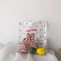 ins萌翻天可愛小熊透明果凍手提環保袋